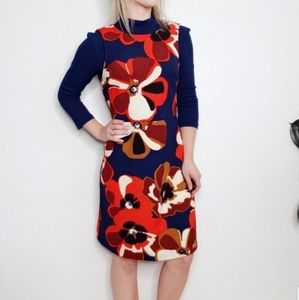 eci New York Floral Mock Neck Sheath Retro Dress